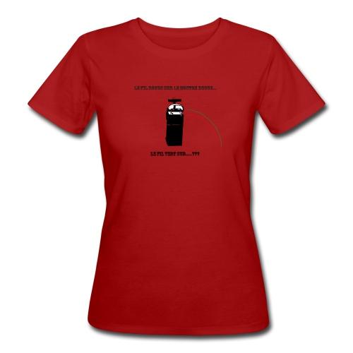 le fil rouge sur le bouton rouge - T-shirt bio Femme
