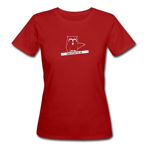 Eule mit Label nah dran 1c klein - Frauen Bio-T-Shirt