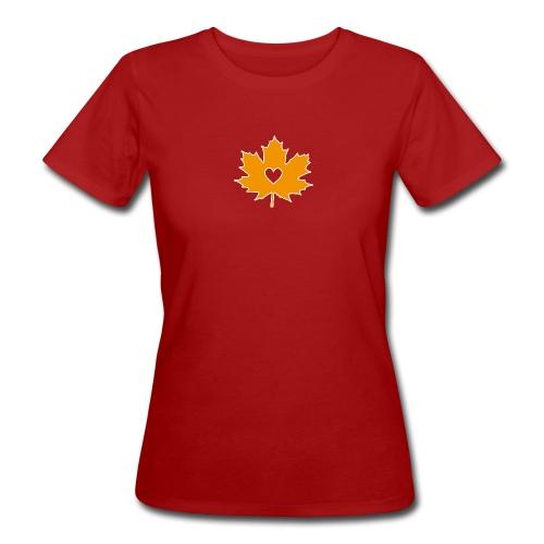 Oranges Ahornblatt mit Herz - Frauen Bio-T-Shirt