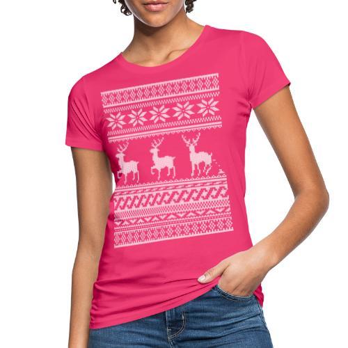 Ugly Christmas Sweater Rentier Muster (lustig) - Frauen Bio-T-Shirt