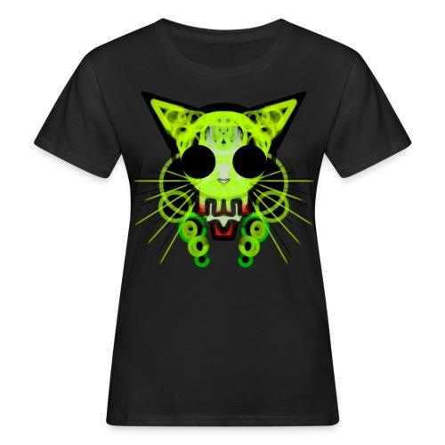 cat skeleton skull light green in deep black - Women's Organic T-Shirt