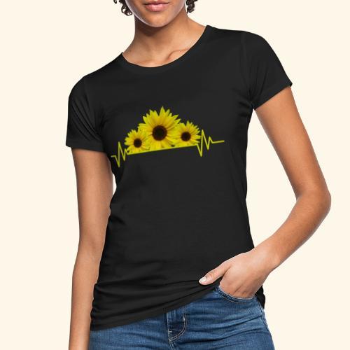 Sonnenblumen Herzschlag Sonnenblume Blumen Blüten - Frauen Bio-T-Shirt
