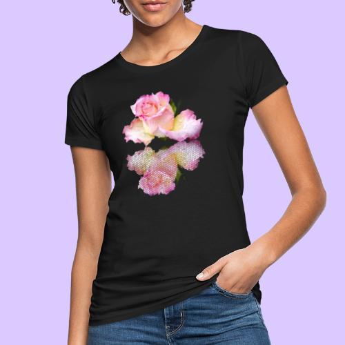 pinke Rose mit Regentropfen im Spiegel, rosa Rosen - Frauen Bio-T-Shirt