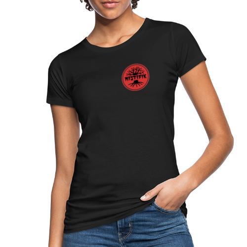 sort logo på rød baggrund med rød ring - Organic damer