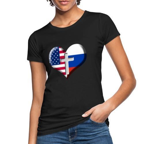 USA and Russia Heart with Cross - Women's Organic T-Shirt