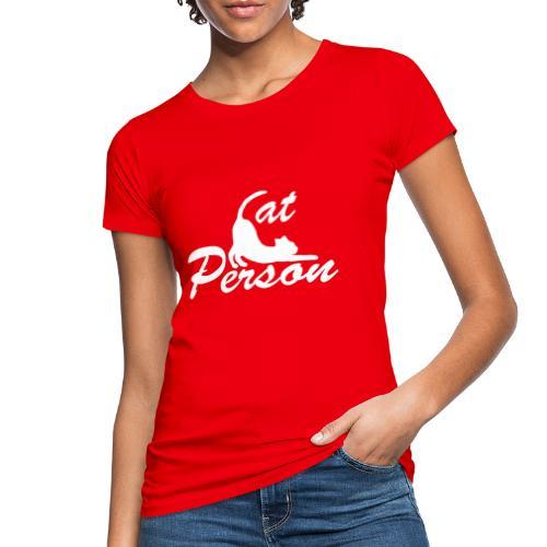 cat person - weiss auf schwarz - Frauen Bio-T-Shirt