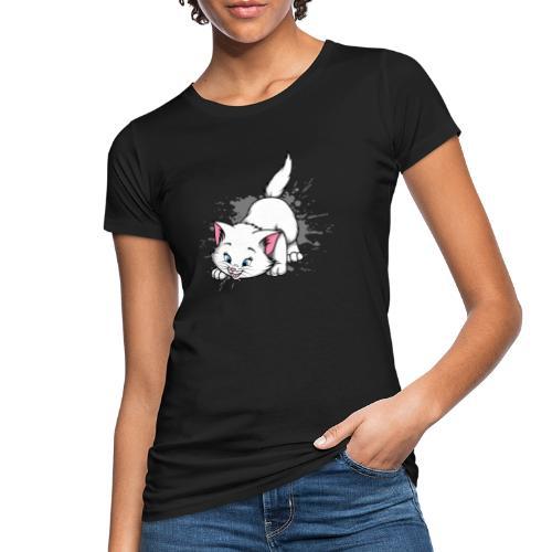 Katze Splash Pfützen Sprung - Frauen Bio-T-Shirt