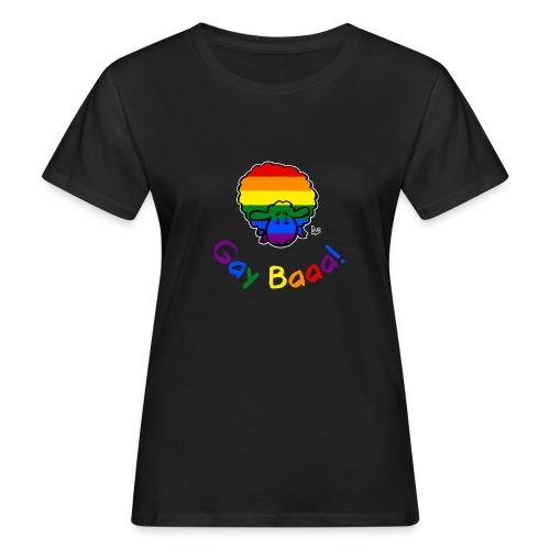 Gay Baaa! Pride Sheep (texte arc-en-ciel édition noire) - T-shirt bio Femme