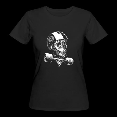 Skull Longboard Rider - negative print - T-shirt bio Femme