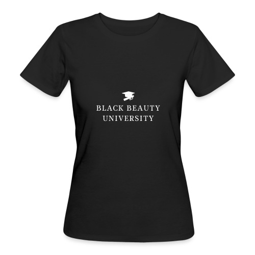 BLACK BEAUTY UNIVERSITY LOGO BLANC - T-shirt bio Femme