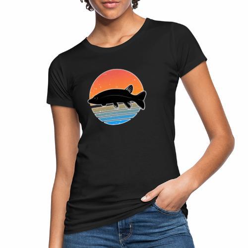 Retro Hecht Angeln Fisch Wurm Raubfisch Shirt - Frauen Bio-T-Shirt