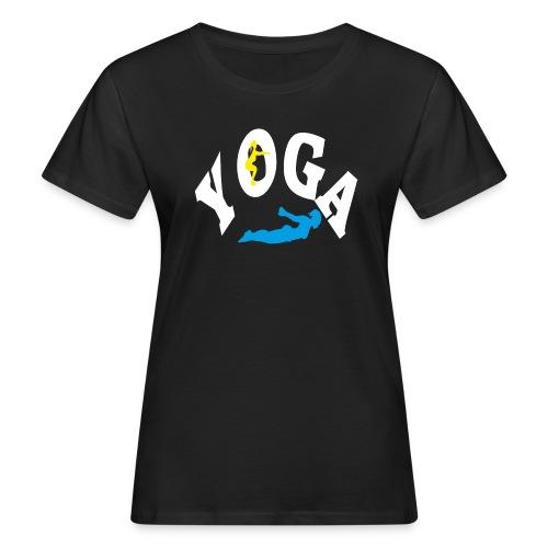 Yoga Schriftzug mit Posen Körperspannung Geschenk - Frauen Bio-T-Shirt