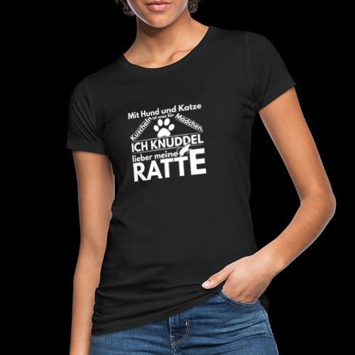 Mit Hund und Katze Kuscheln ist was for Madchen - Frauen Bio-T-Shirt