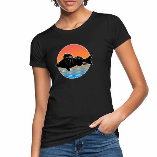 Retro Barsch Angeln Fisch Wurm Raubfisch Shirt - Frauen Bio-T-Shirt