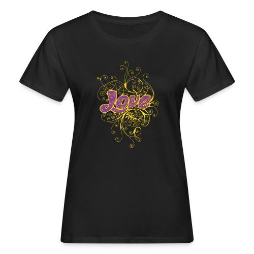 LOVE VIOLA CON DECORI - T-shirt ecologica da donna