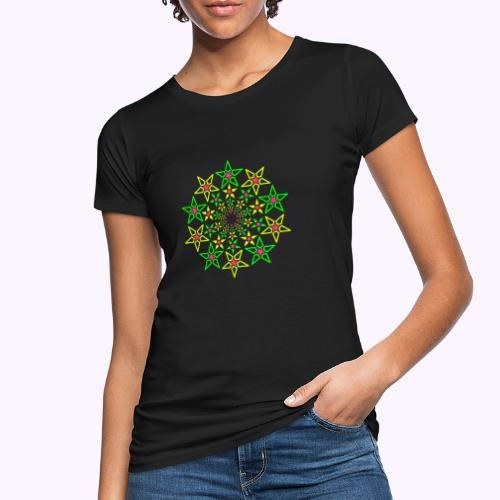Fractal Star 3 -värinen neon - Naisten luonnonmukainen t-paita