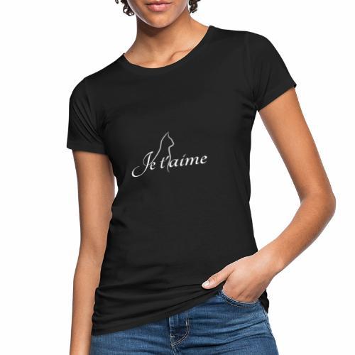 Je t'aime - Chat blanc, artistique avec silhouette - T-shirt bio Femme