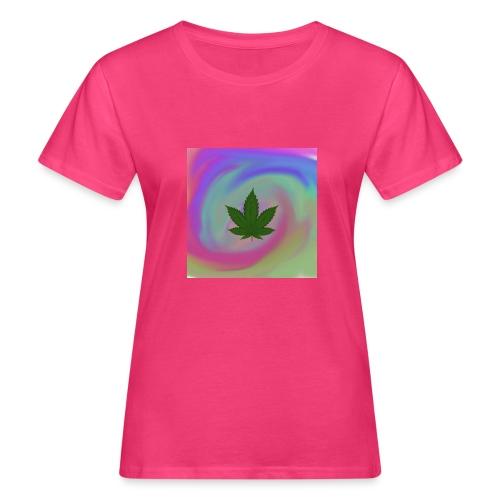 Hanfblatt auf bunten Hintergrund - Frauen Bio-T-Shirt