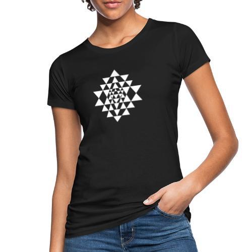 Valkoinen Shri Yantra -kuvio - Naisten luonnonmukainen t-paita