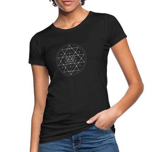 Valkoinen geometrinen Shri Yantra -kuvio - Naisten luonnonmukainen t-paita