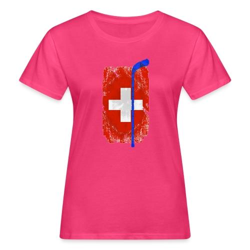 Schweizer Flagge Hockey - Frauen Bio-T-Shirt