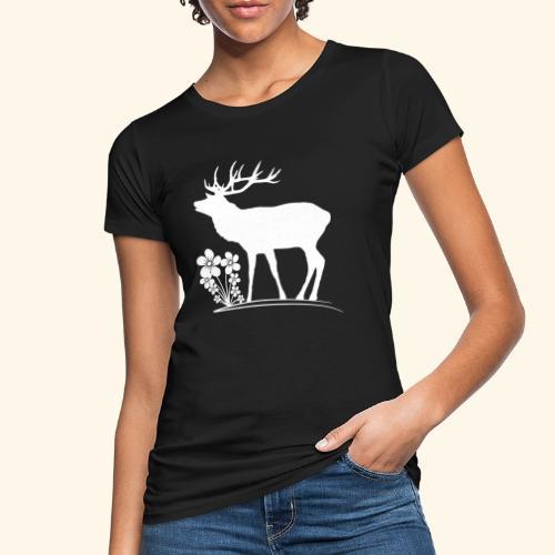 wilder Hirsch mit Blumen, Tiere, Reh, Hirsche - Frauen Bio-T-Shirt