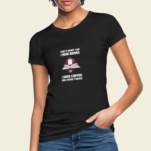 Buch und Kaffee, hell - Frauen Bio-T-Shirt