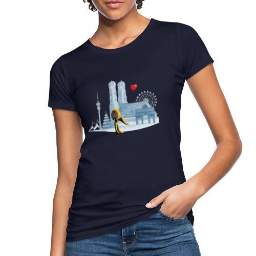 Skyline München mit Münchner Kindl und Herz - Frauen Bio-T-Shirt