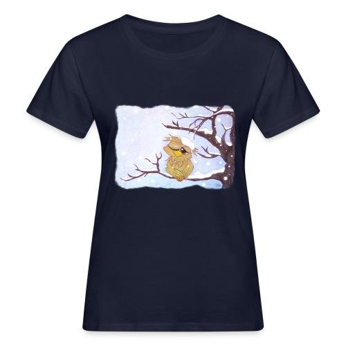 Kauz im Schnee - Frauen Bio-T-Shirt