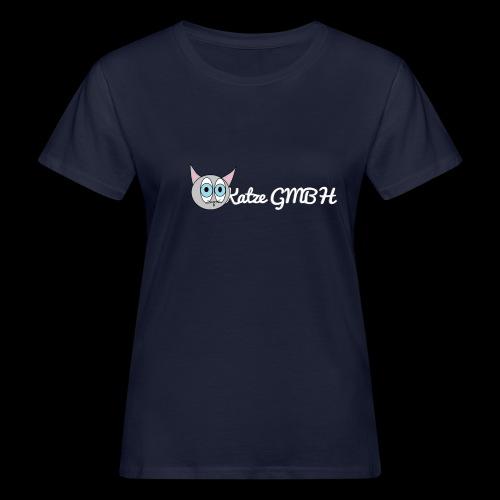 Katze GMBH Logo mit Schriftzug (Weiss auf dunkel) - Frauen Bio-T-Shirt