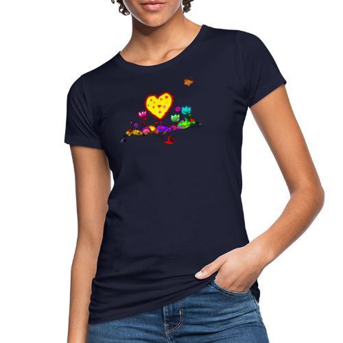 Blumengruß mit Herz - Frauen Bio-T-Shirt