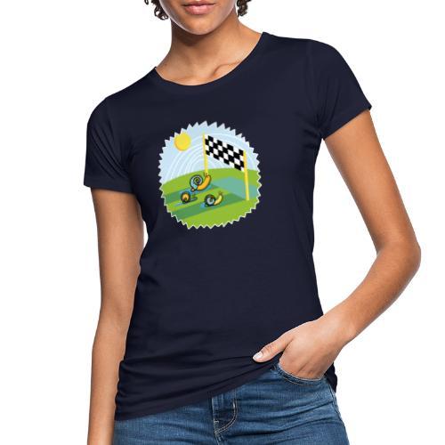 Zen Schnecken im Wettrennen auf sonniger Wiese - Frauen Bio-T-Shirt