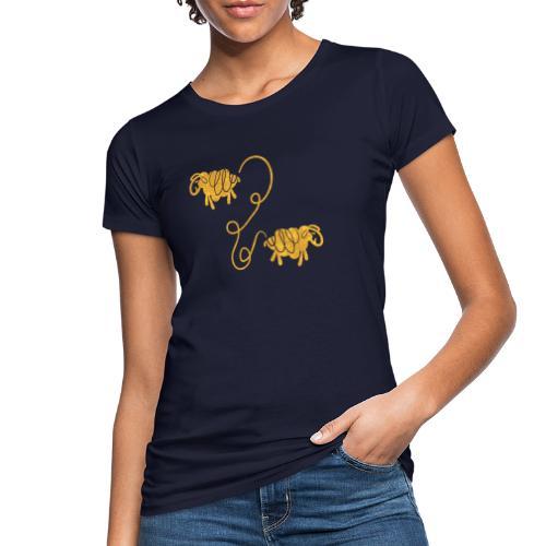 Miteinander verbundene Linoldruck Schafe in senf - Frauen Bio-T-Shirt