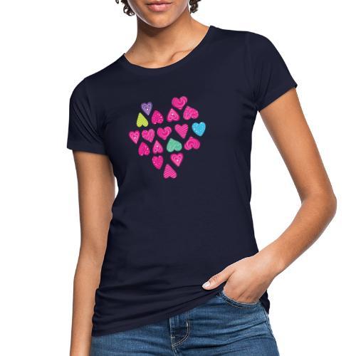 I love you Herz aus Herzen mit Doodle Textur - Frauen Bio-T-Shirt