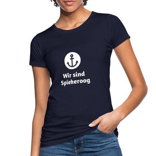 Wir sind Spiekeroog Logo weiss - Frauen Bio-T-Shirt