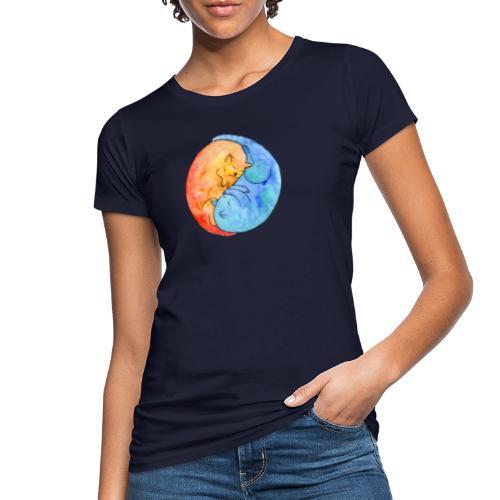 Katzenfreunde Yin Yang orange und blau - Frauen Bio-T-Shirt