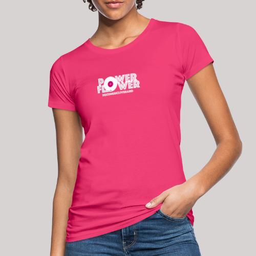 Logo PowerFlower bianco e fuxia - T-shirt ecologica da donna