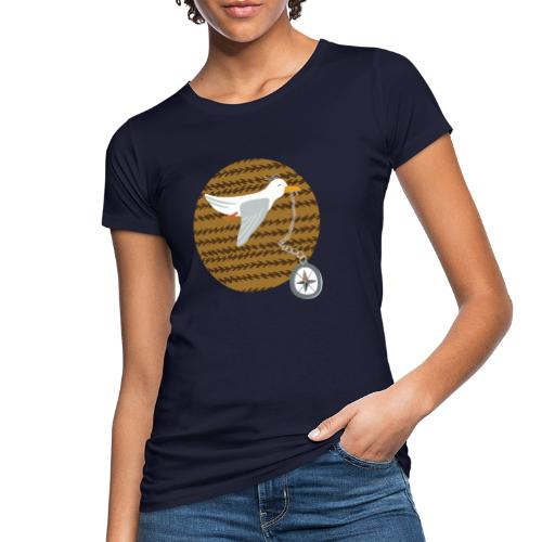 Freche Möwe stiehlt Kompass und fliegt davon - Frauen Bio-T-Shirt