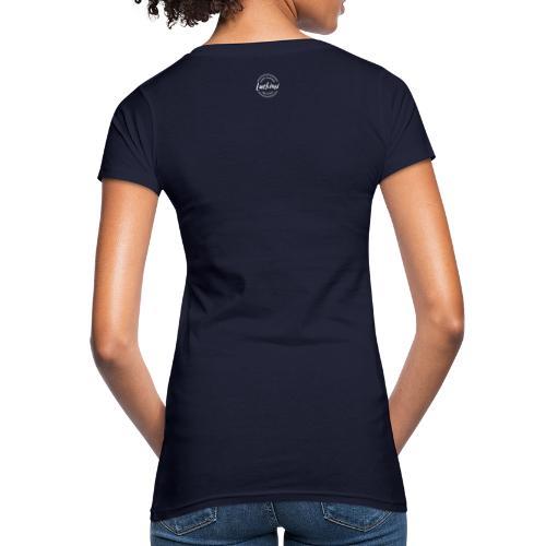 Luckimi logo white small circle on sleeve or back - Women's Organic T-Shirt