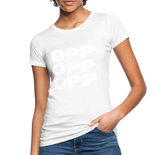 OPP Logo White - Naisten luonnonmukainen t-paita