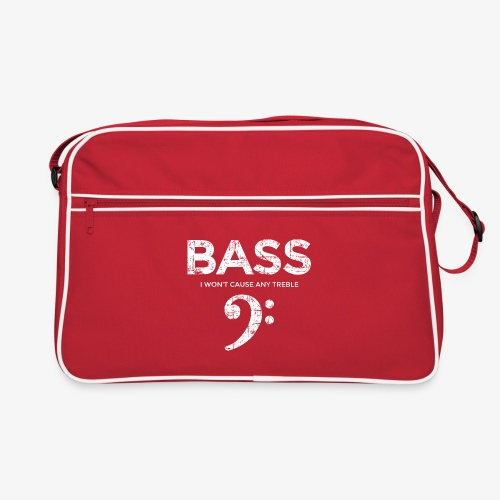 BASS I wont cause any treble (Vintage/Weiß) - Retro Tasche