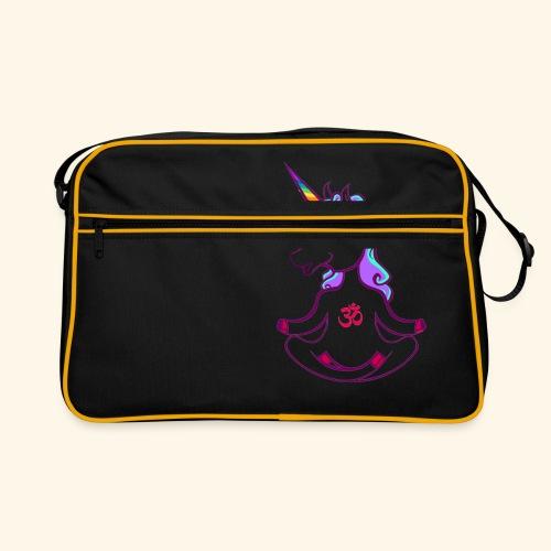buddhistisches Meditation Einhorn T-Shirt - Retro Tasche