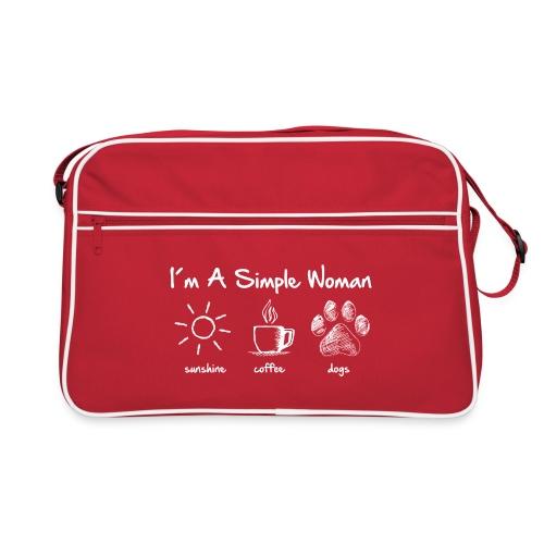 simple woman dog white - Retro Tasche