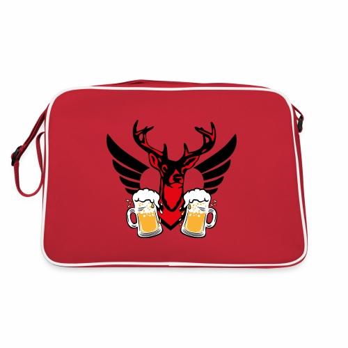 08 Zwei Mass Bier stolzer Hirsch mit Flügel - Retro Tasche