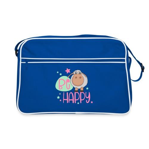 Be happy Schaf - Glückliches Schaf - Glücksschaf - Retro Tasche