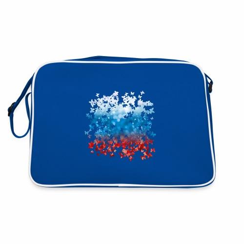 06 Russland Flagge Fahne Russia Schmetterlinge - Retro Tasche