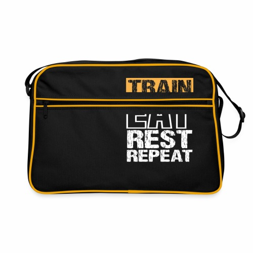 Train, Eat, Rest, Repeat - Training T-Shirt - Retro Tasche