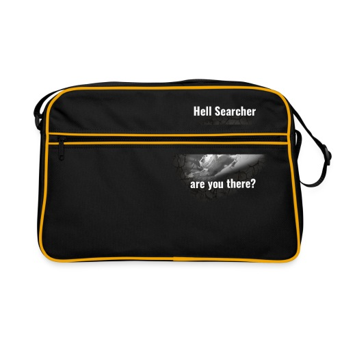 Hell Searcher, are you there? Men Black Hoodie - Retro Bag