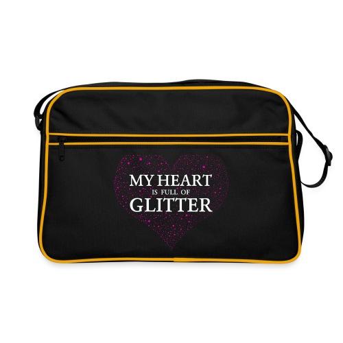 Herz Glitzer - Retro Tasche
