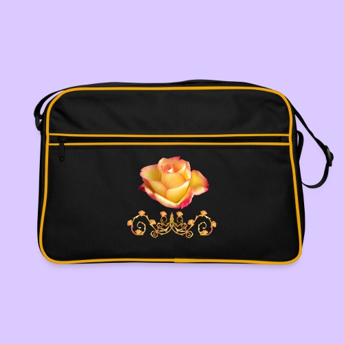 orange Rose, Ornament, Rosen, Blumen, Blüten, edel - Retro Tasche
